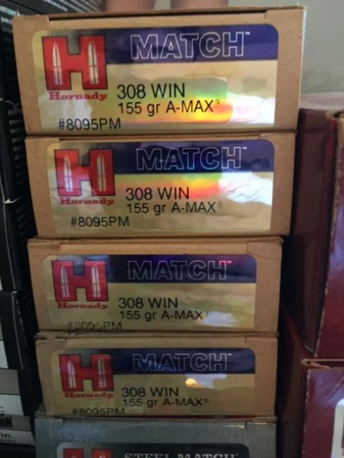 Hornady match ammunition ammo 168 / 155 grain Amax or BTHP