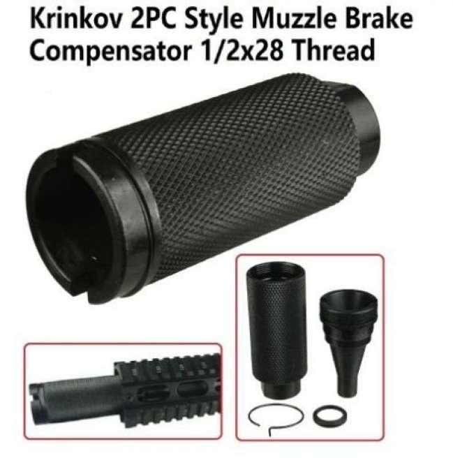 Krinkov 2PC Style Muzzle Brake Compensator 1/2x28 Thread W W