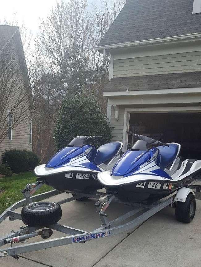blue Two Honda Aquatrax R-12X Turbo PWC Jet Skis with Traile