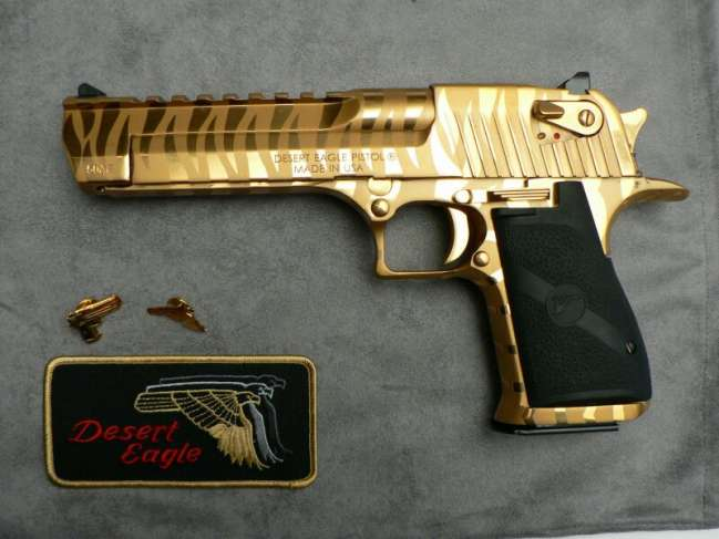 Used Desert Eagle 50ae Gold With Tiger Stripe Louisiana Sportsman