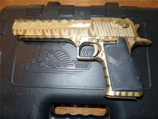 Used Desert Eagle 50ae Gold With Tiger Stripe Mississippi