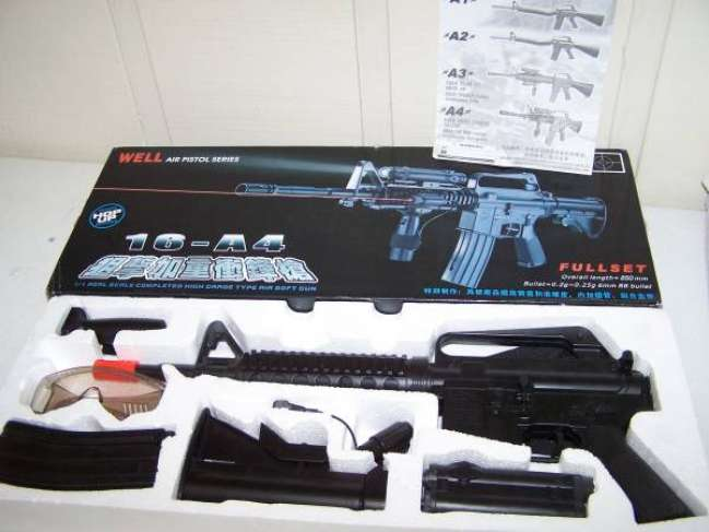Well 16-A4 airsoft gun with laser used once - Louisiana